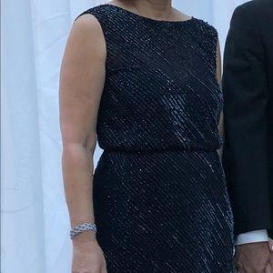 Max Mara navy beaded gown